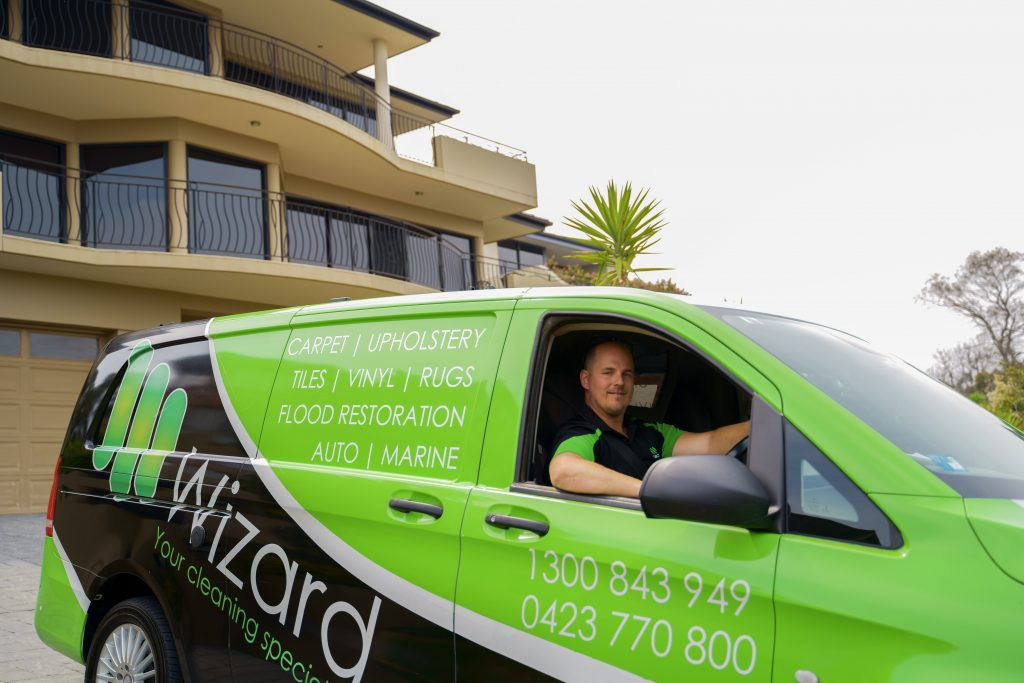 Nic in Wizard Carpet Cleaning Van